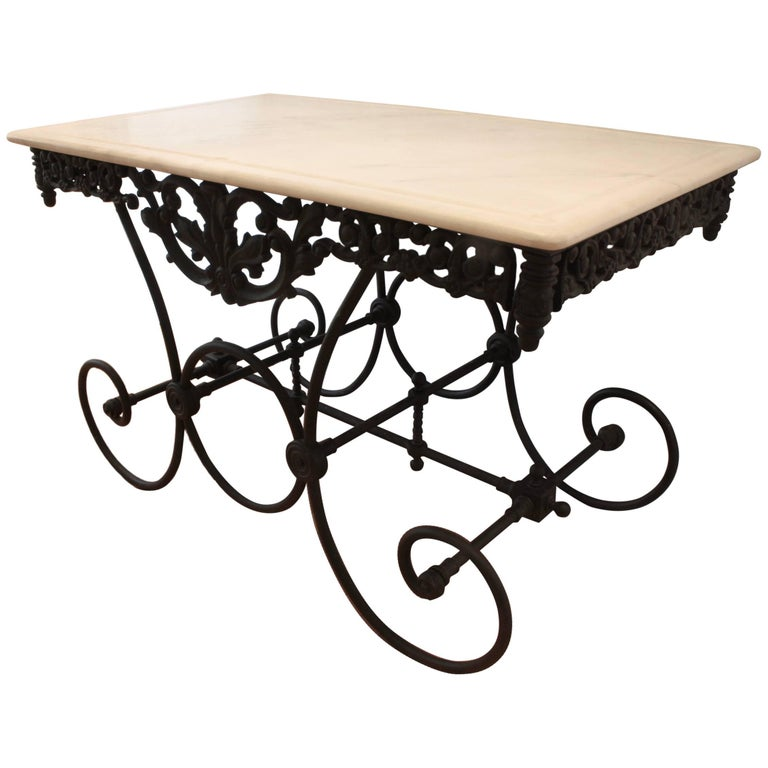 French Cast Iron and Marble Baker's Table For Sale