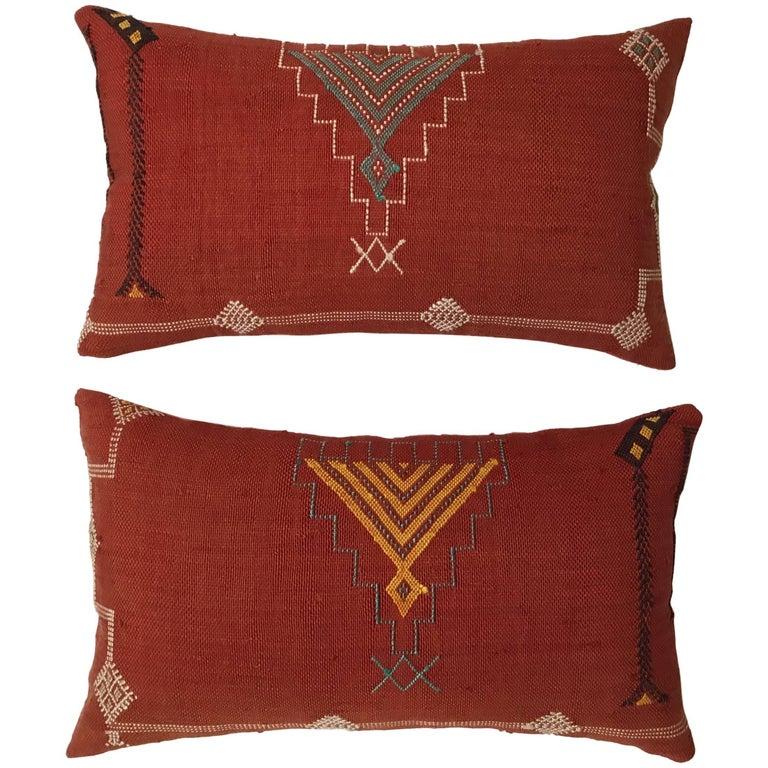 Pair of Cactus Silk Red Pillows