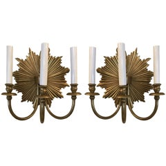 Pair of Bronze Hollywood Regency Three-Light Sunburst Sconces
