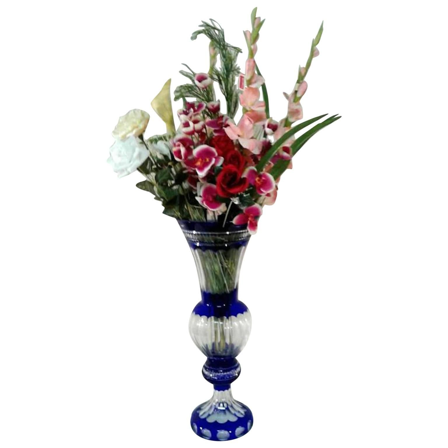 Crystal Blue Vases with Silk Flowers For Sale  sc 1 st  1stDibs & Crystal Blue Vases with Silk Flowers For Sale at 1stdibs