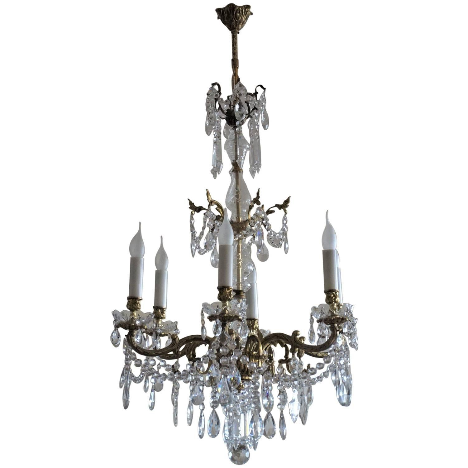 French Bronze Cut Rock Crystal Six Light Chandelier