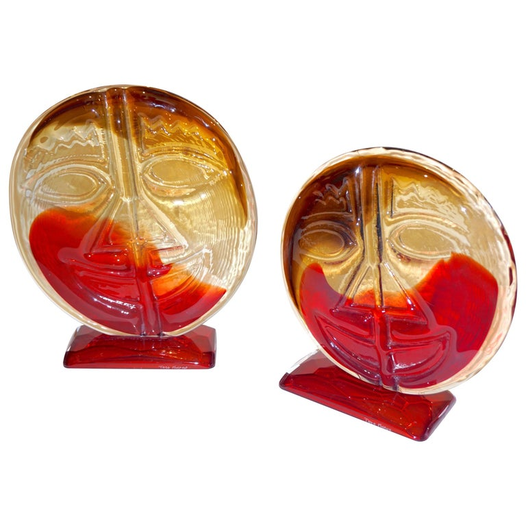 Cesare Toso 1970s Pair of Abstract Red and Amber Murano Art Glass Round Faces For Sale
