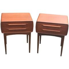 Pair of Two Drawer Teak Bedside Tables by Johannes Andersen for CFC Silkeborg