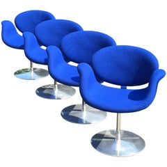 Set of Four Blue 'Little Tulip' Chairs by Pierre Paulin for Artifort