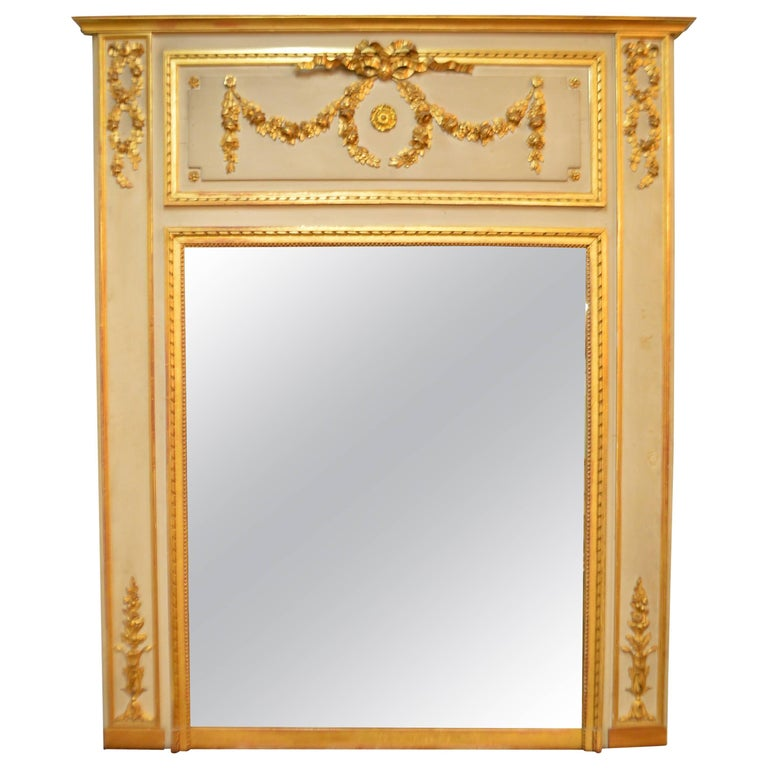 19th Century Painted with Gilt Louis XVI Style Large Trumeau Mirror
