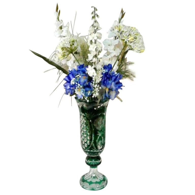 Crystal blue vases with silk flowers for sale at 1stdibs green chrystal vase with silk flowers mightylinksfo