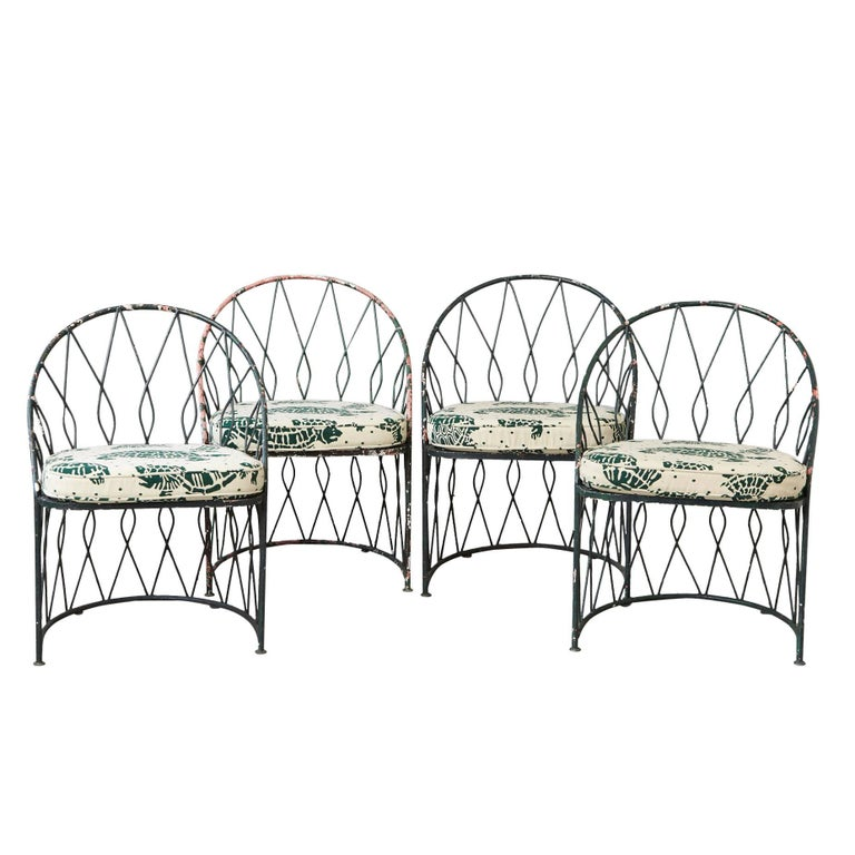 Set of Four Round Wrought Iron Salterini Barrel Back Patio or Garden Chairs