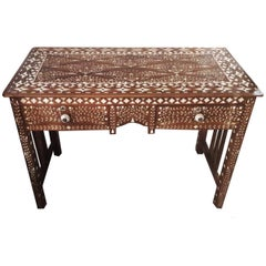 Bone-Inlaid Teak Desk from India, 20th Century