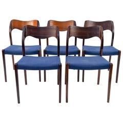 Set of Five Jl Møller Model No. 71. Dining Chairs by Arne Hovmand Olsen