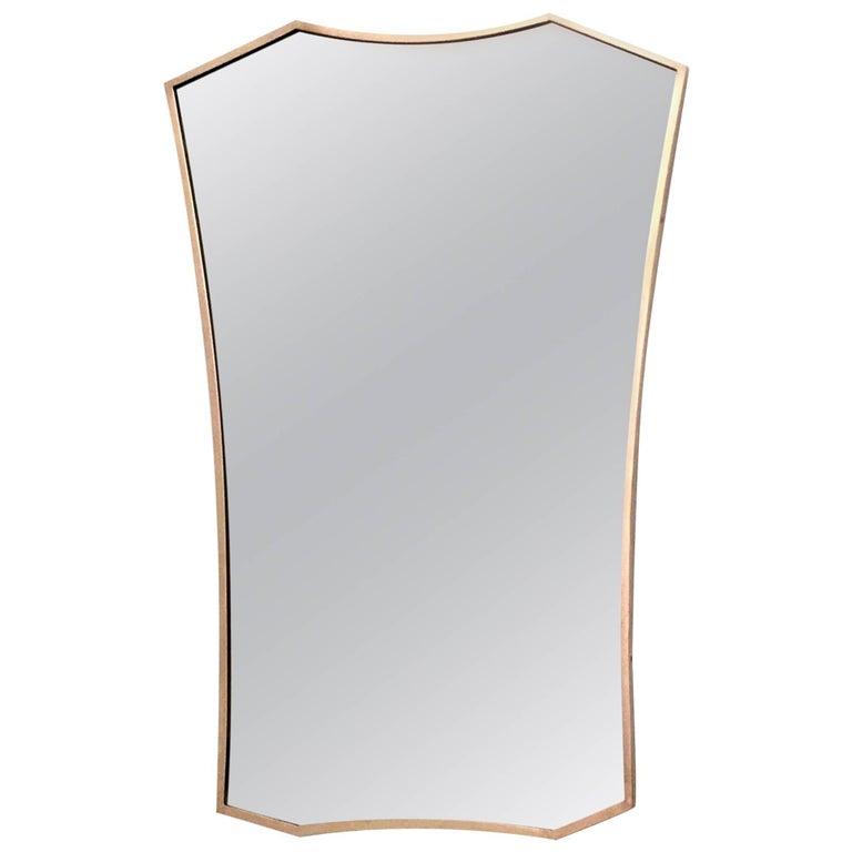 Brass Shield Shaped Wall Mirror, Italy, 1950s