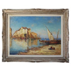 French Painting of a Mediterranean Port by D.Manago