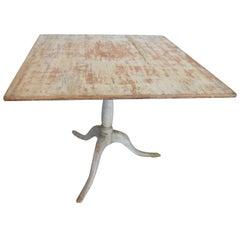 Swedish Square Tilt-Top Painted Pedestal Table, 19th Century