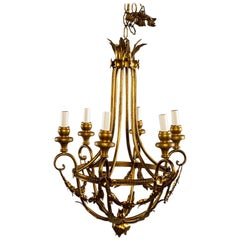 Gilt Metal French Six-Light Chandelier