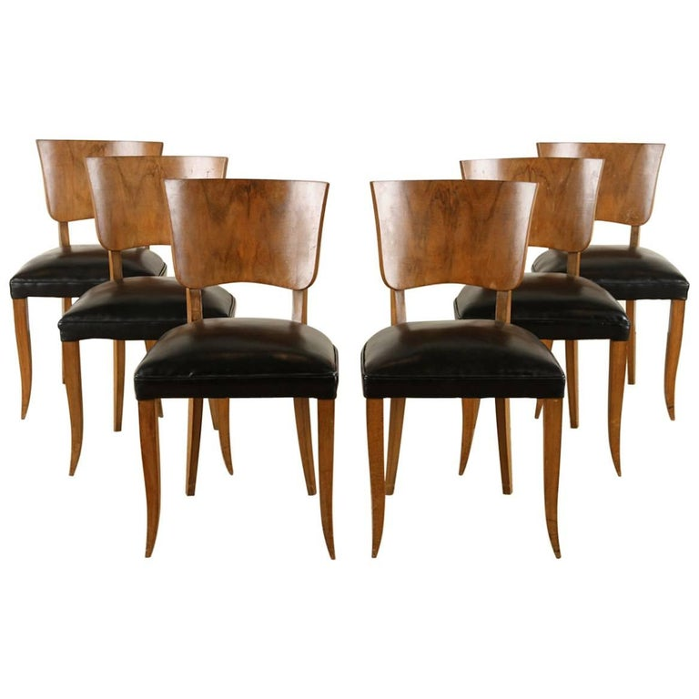 Burled Walnut Art Deco Dining Chairs, Set of six