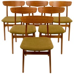 Set of (6) Danish Midcentury Teak Dining Chairs by SAX