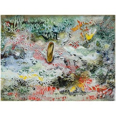 Untitled I by Ming Chiao Kuo, Enamel Painting on Copper, 1984, Framed