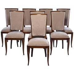 Set of Eight Midcentury Italian Polished Walnut Chairs