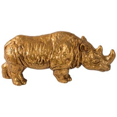 Midcentury Gold Rhino Sculpture, 1967