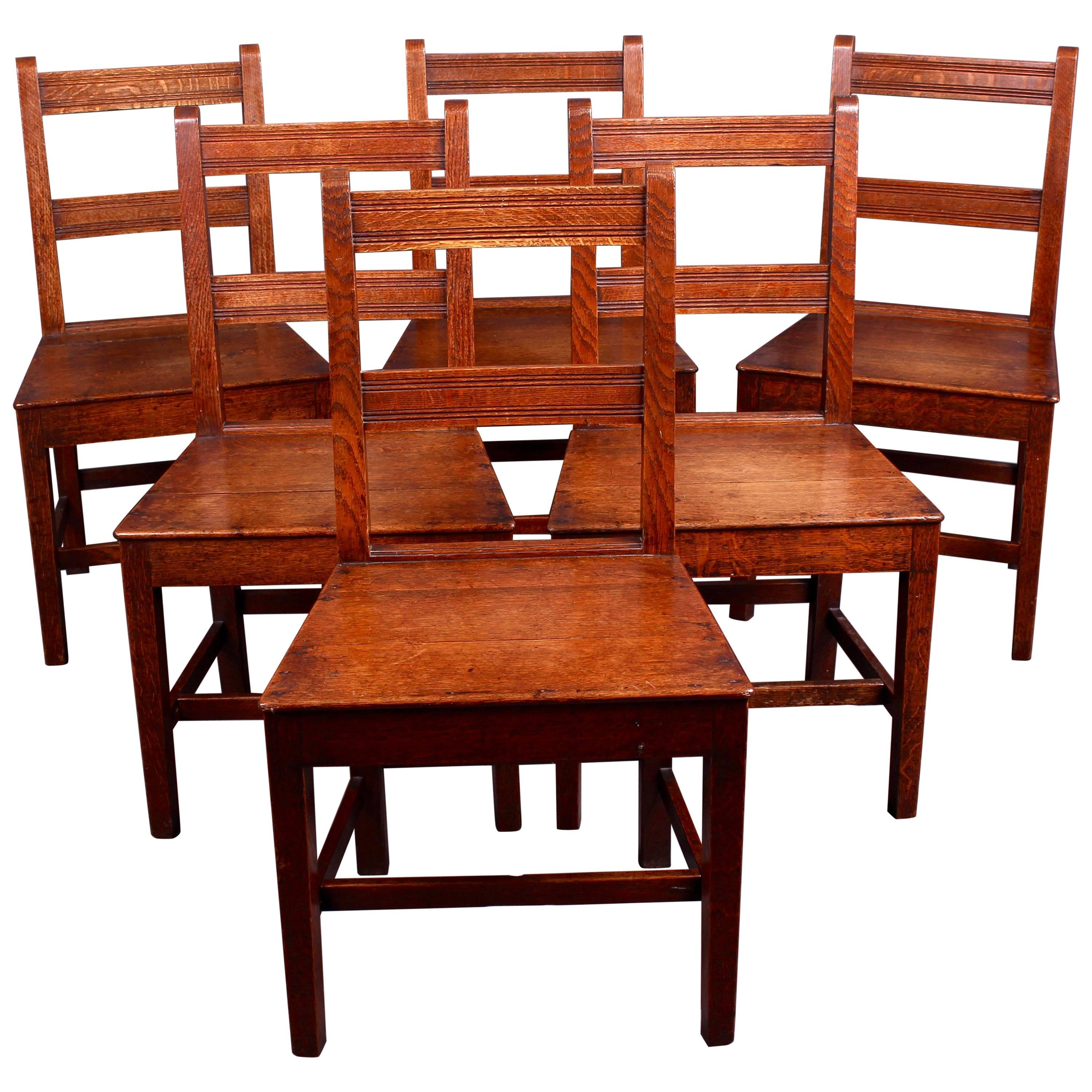 Set Of Six Edwardian Country Oak Dining Chairs
