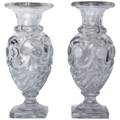 Pair of Early 19th Century Baccarat Handblown and Cut Crystal Vases