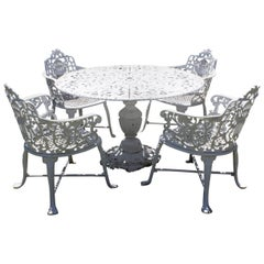 Ornate Victorian Style Garden Dining Set in Cast Aluminum
