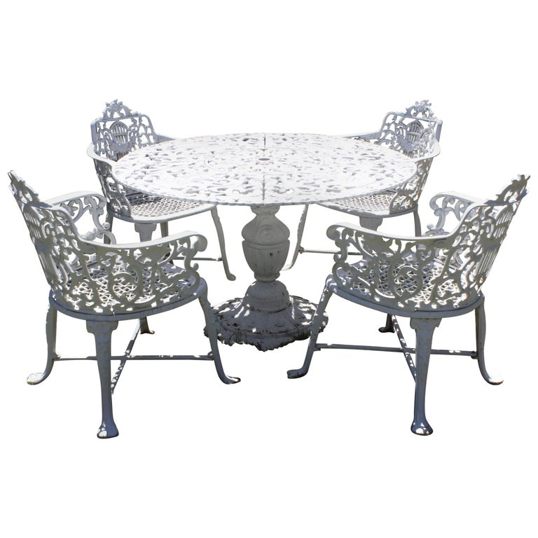 Ornate Victorian Style Garden Dining Set in Cast Aluminum For Sale