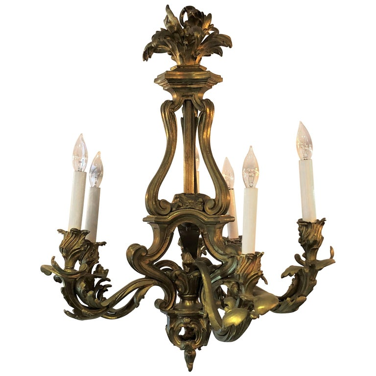 Antique French Bronze D'Ore Louis XVI Chandelier after Caffieri, circa 1840-1860