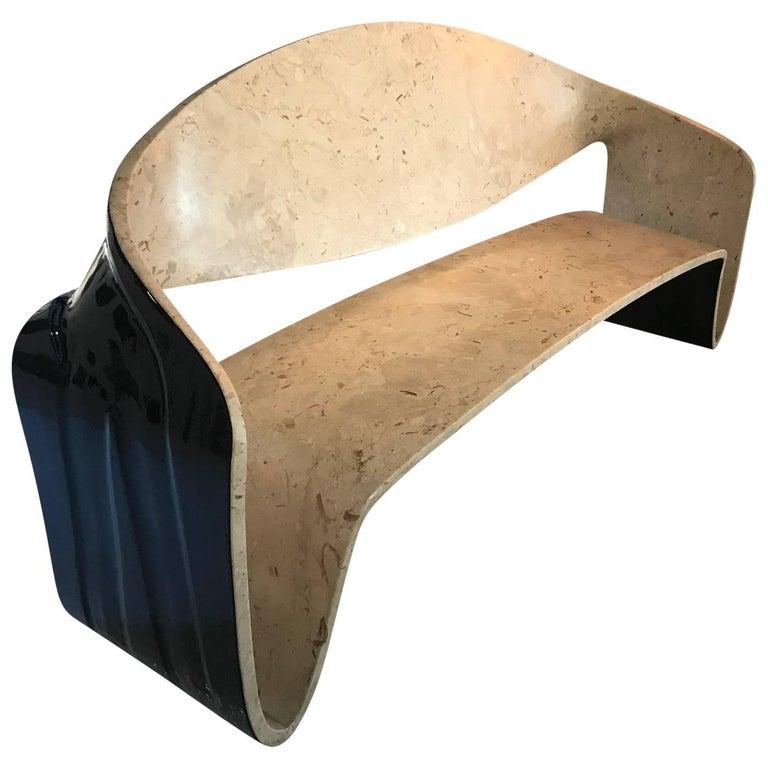 Contemporary  Möbius Marble Bench Design by Giuseppe Fallacara Architect