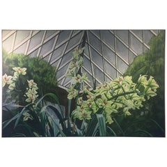 Signed Large Scale Modern Exotic Orchids in Green House Painting