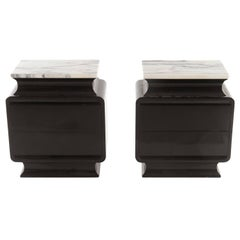 Mid-Century End tables Bedside Tables with Marble Top