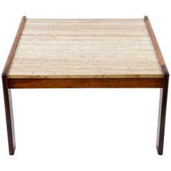 Danish Mid-Century Rosewood and Travertine Coffee Table