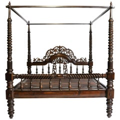 British Colonial Style Teak Wood King-Size Bed
