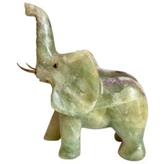 Jade Elephant with 14-Karat Gold Tusks