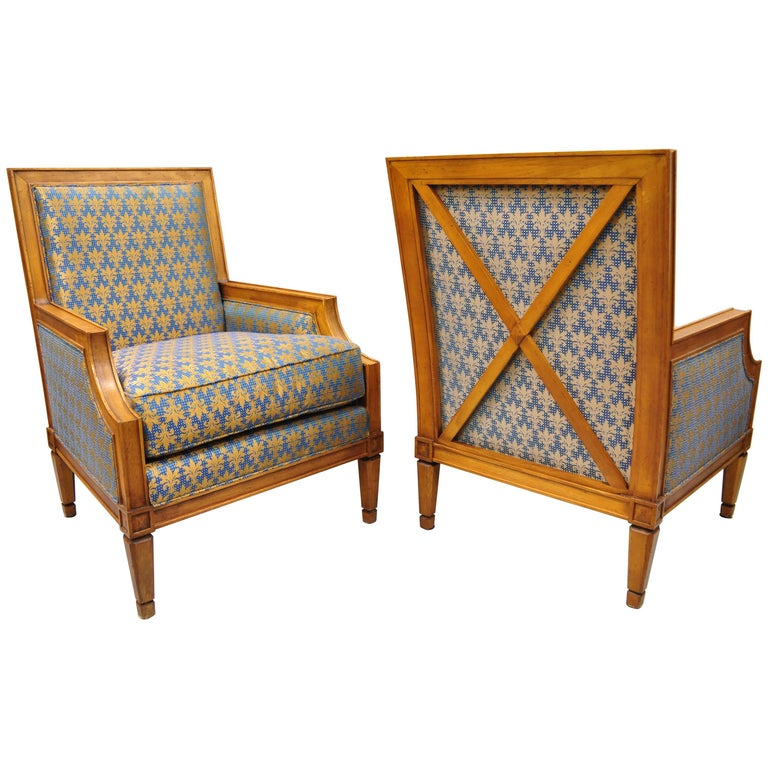 Baker Regency Neoclassical Style Bergere Armchairs Pair, Directoire X- Form Back