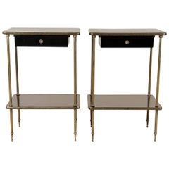 Elegant Pair of Black Lacquer and Brass End or Bedside Tables