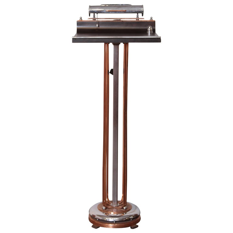 Art Deco Machine Age Lighted Registry Stand, Podium, Register, Mixed Metal, Wood