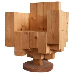 Unique Sculptural Cubist Armchair in Pine Wood by Giorgio Mariani, Italy 2005