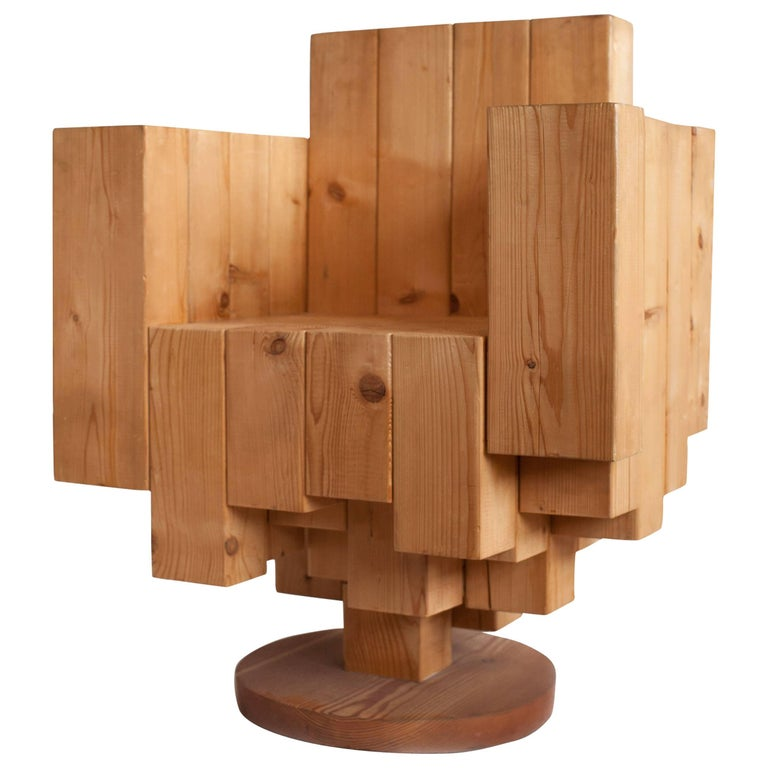 Unique Sculptural Cubist Armchair in Pine Wood by Giorgio Mariani, Italy 2005 For Sale