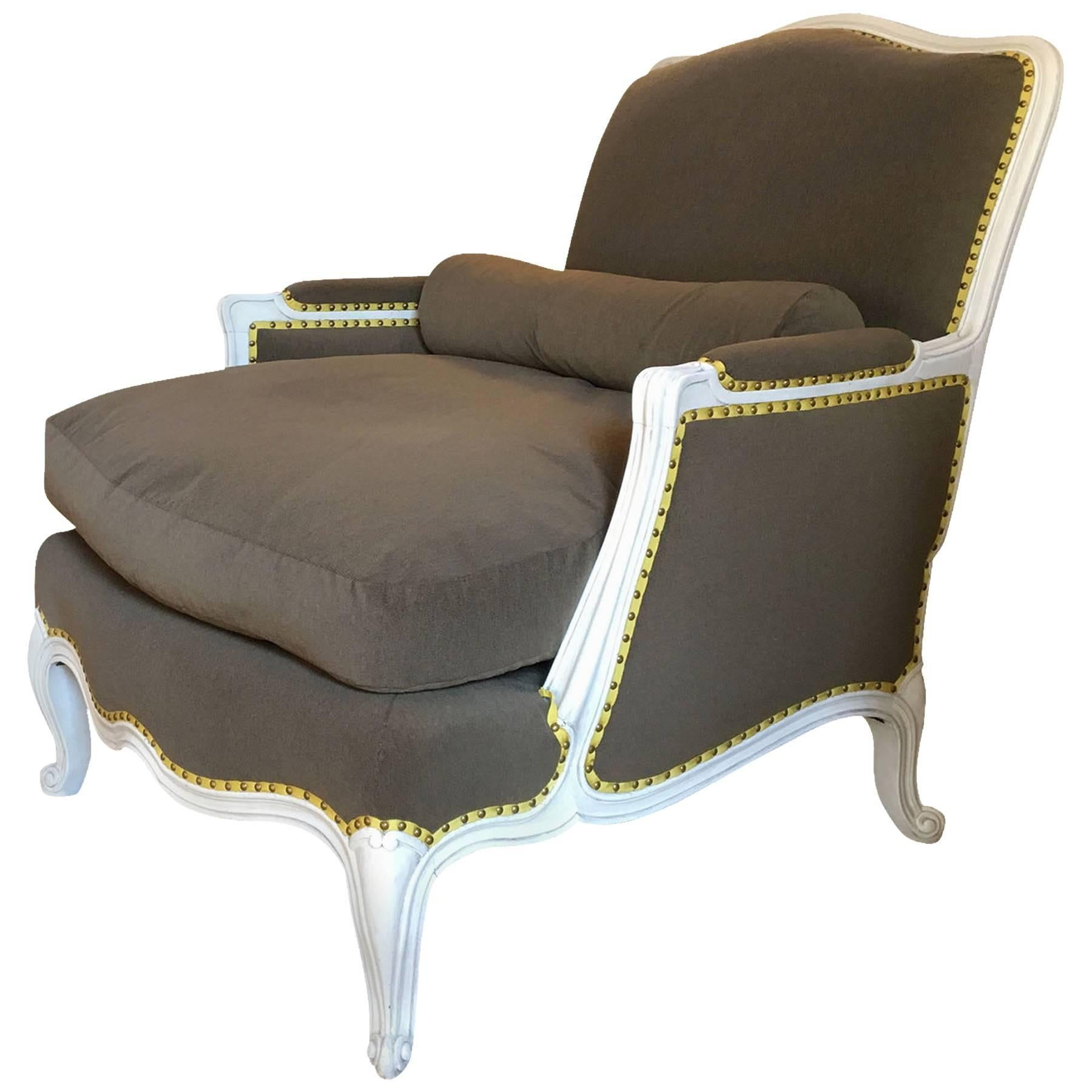 Louis XV Painted Upholstered Bergere