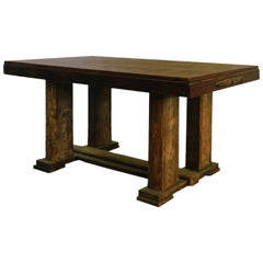 Midcentury Extendable French Oak Dining Table, circa 1950