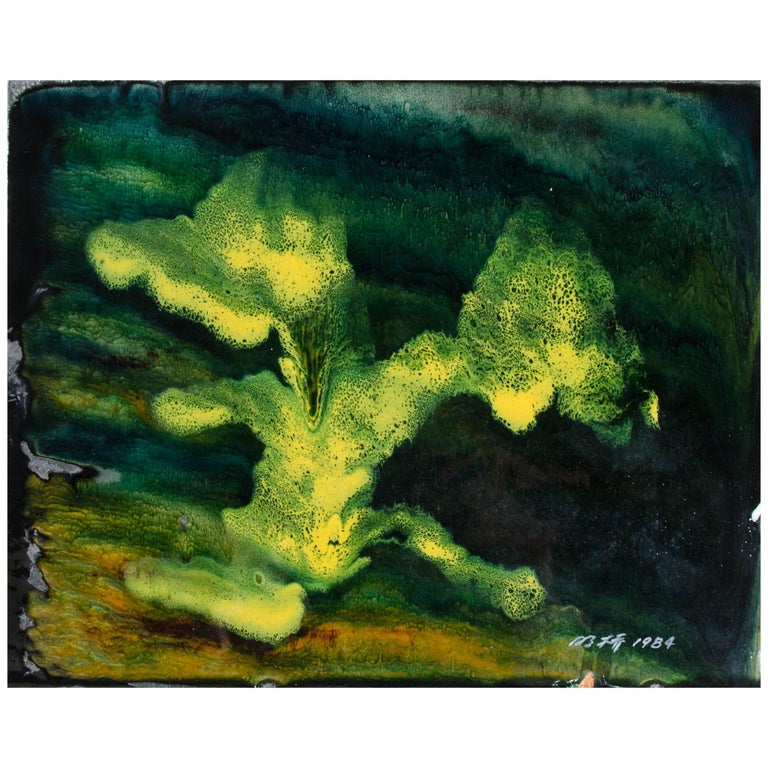 Untitled II by Ming Chiao Kuo, Enamel Painting on Copper, 1984, Framed For Sale