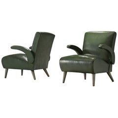Pair of Deep Green Leatherette Lounge Chairs