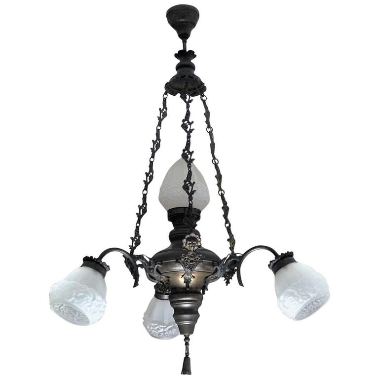 Large Art Deco Brass Four-Light Chandelier Frosted Glass Globes, circa 1930