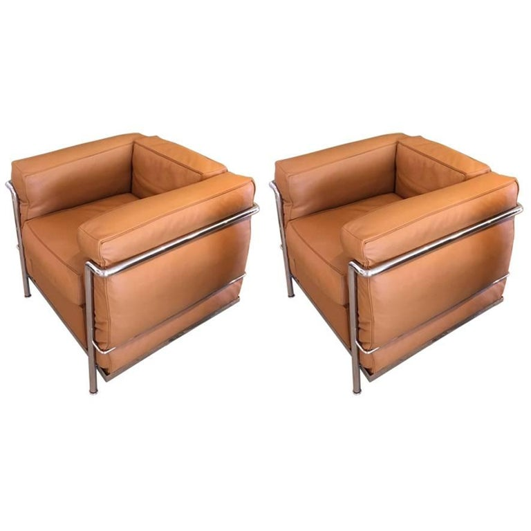 Le Corbusier LC2 Leather Lounge Chairs with Chrome Frame