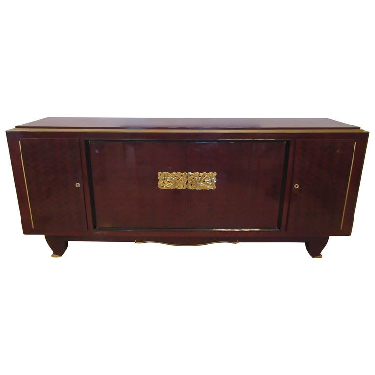 Fine Art Deco Mahogany and Bronze Mounted Credenza, Attributed to Jules Leleu