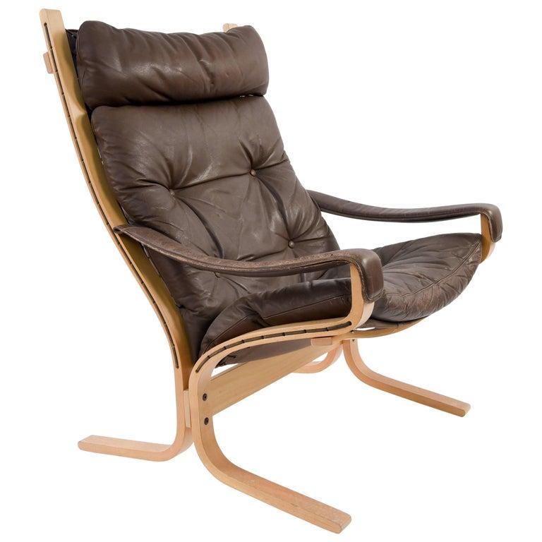 Norwegian Ingmar Relling for Westnofa Brown Leather Siesta Chair