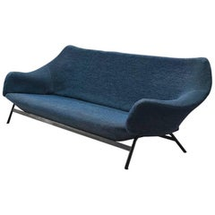 Italian Sofa in Blue Fabric and Metal, circa 1950