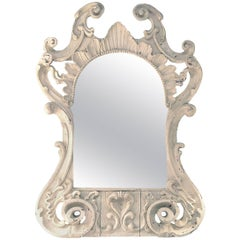 Cement Encrusted Italian Carved 19th Century Antique Mirror