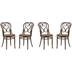 Bentwood Dining Side Chairs with Caned Seats by Salvatore Leone, Set of Four