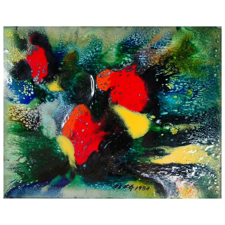 Untitled V by Ming Chiao Kuo, Enamel Painting on Copper, 1984, Framed